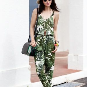 TOPSHOP Green White Palm Leaf Strappy Jumpsuit